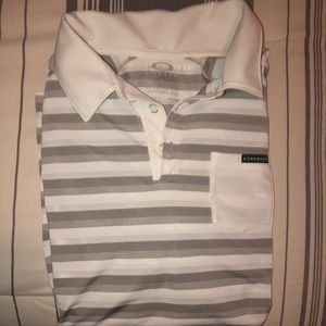 Oakley Dry-fit Golf shirt, white and grey stripped